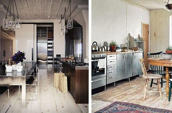 Cocinas con muebles de acero inoxidable