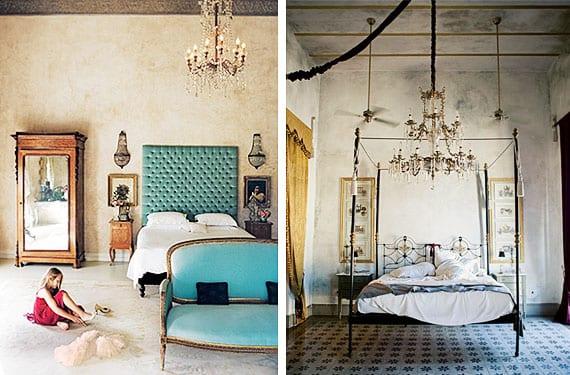 Dormitorios con lámpara de araña