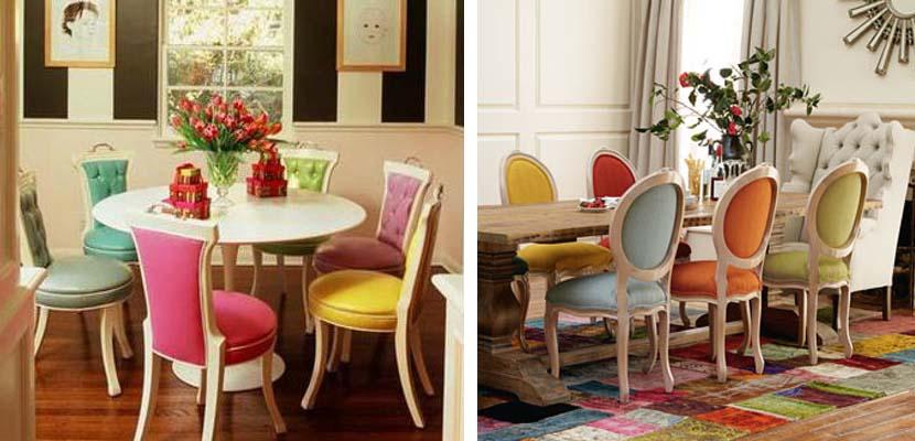 Sillas de colores para una decoraci n alegre for Sillas de comedor tapizadas modernas