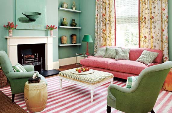 Un sal n en color verde menta - Colores relajantes para salones ...