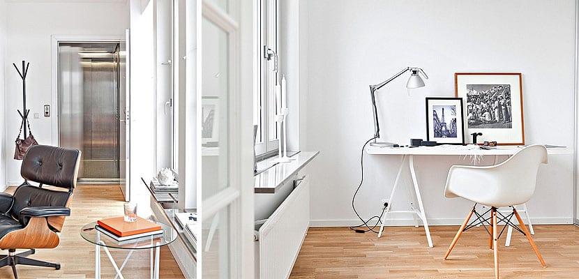 Apartamento moderno de paredes blancas