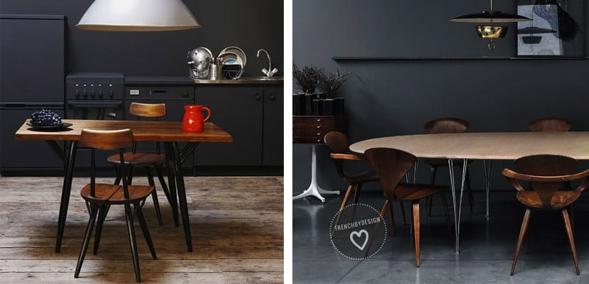 Cocinas color negro y madera
