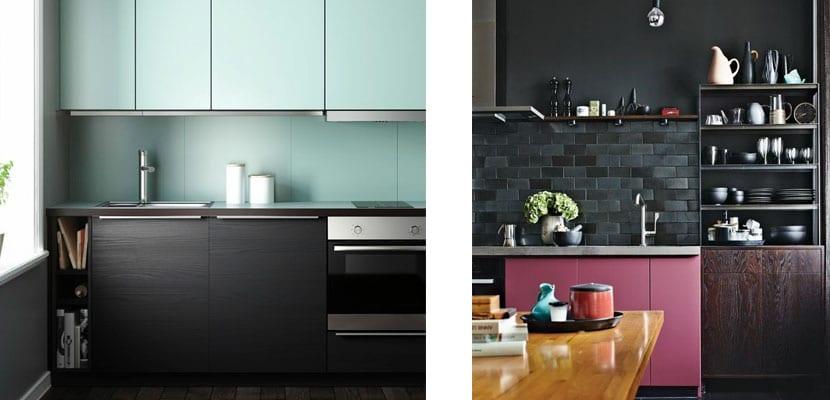 Cocinas negras con contraste de color