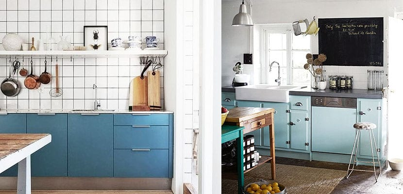 cocinas vintage azul pastel - Cocinas Vintage
