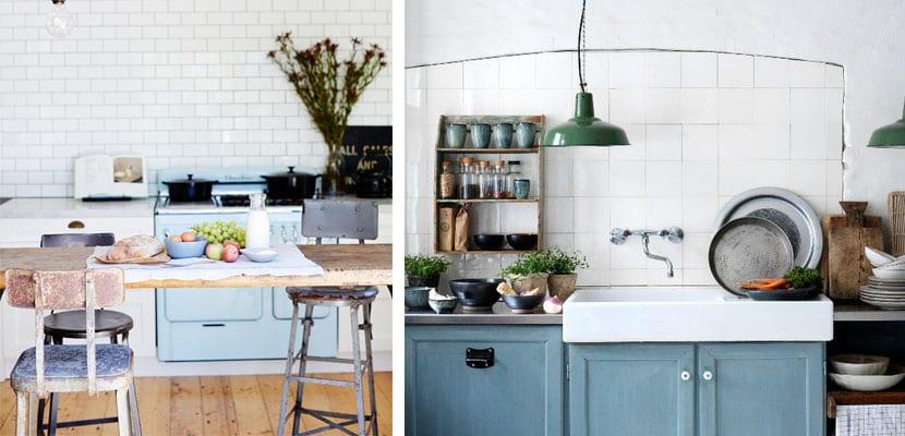 Cocinas vintage azul pastel c lidas y acogedoras - Muebles de cocina retro ...