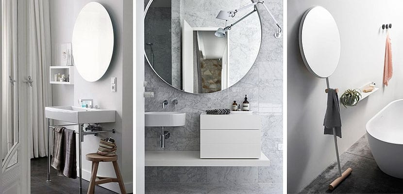 Espejos redondos para decorar el cuarto de ba o for Pared con espejos redondos