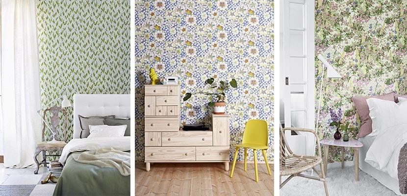 papeles pintados de flores en el dormitorio