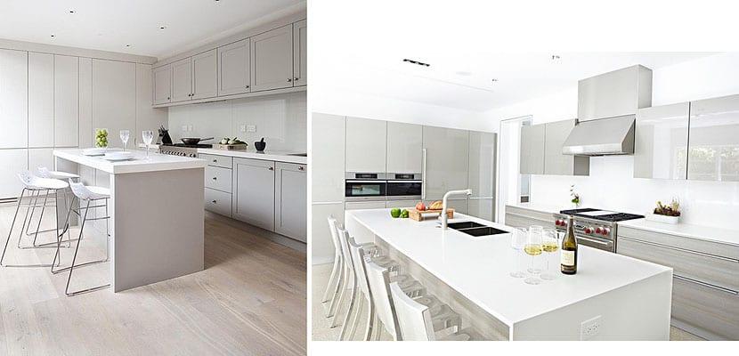Muebles en tonos grises para decorar tu cocina for Cocinas blancas y grises