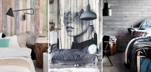 Peredes de madera reciclada en dormitorio