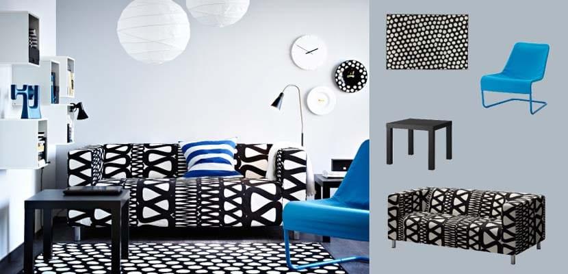 Sofás de Ikea en blanco y negro