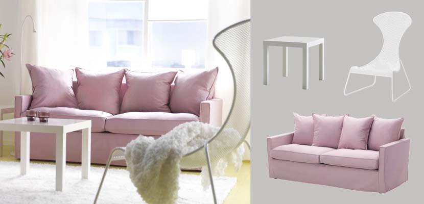Sofás de Ikea en tonos pastel