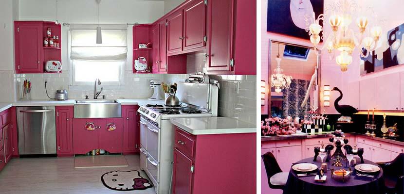 Cocina original en color rosa