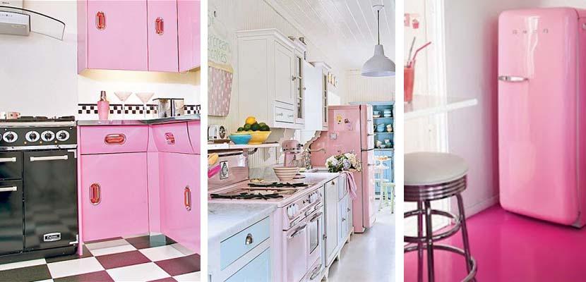 Cocina vintage en color rosa
