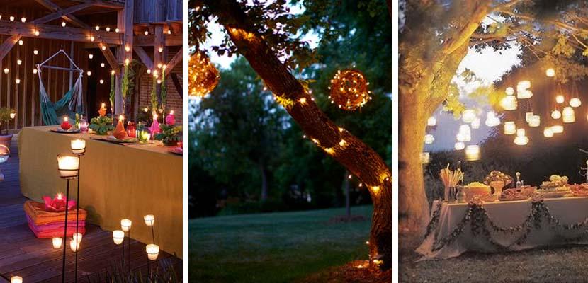 Iluminación para fiestas en el jardín