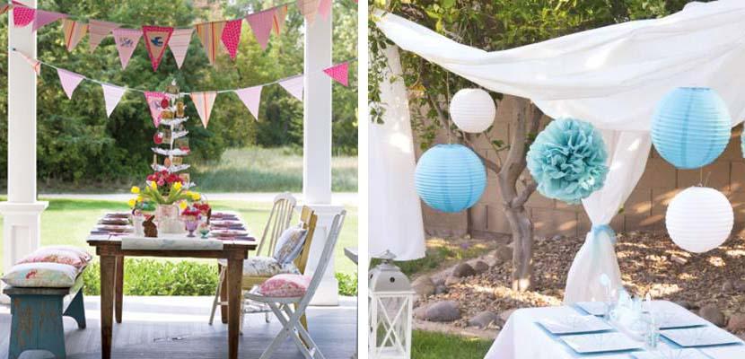 Fiestas en el jardín con detalles de papel