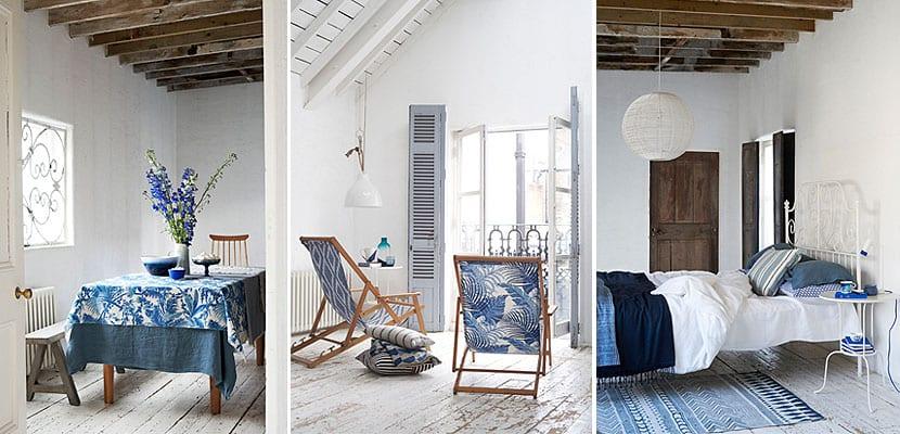 Decoración mediterránea en blanco y azul