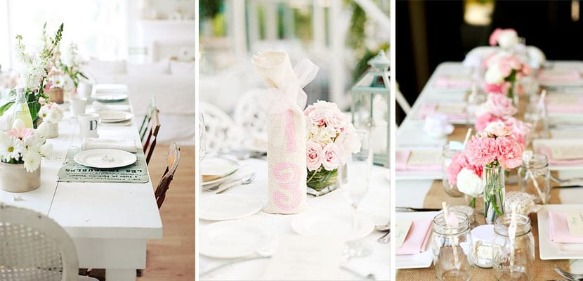 Mesa en blanco y rosa
