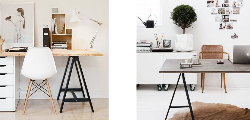 Una mesa con caballetes para un espacio de trabajo convertible - Mesa con caballetes ...