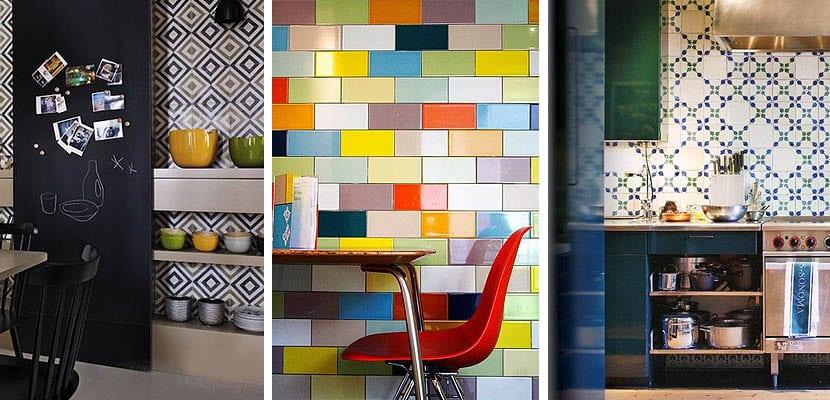 Azulejos de colores en las paredes de la cocina for Pintura azulejos colores
