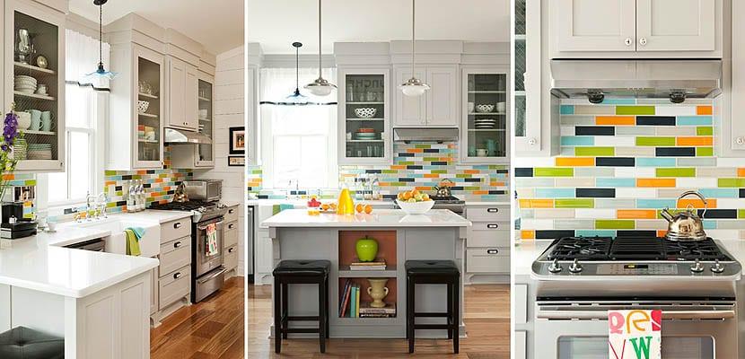 Azulejos de colores en las paredes de la cocina - Azulejos cocina ...