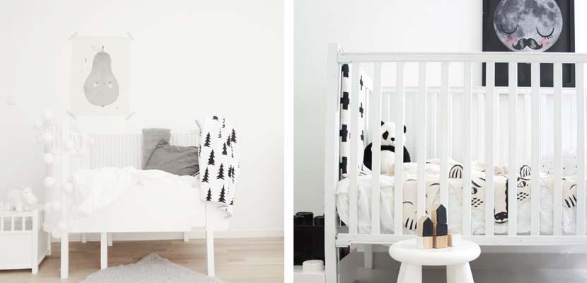 Habitación para el bebé en blanco y negro