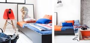 Habitaciones para adolescente azules y naranjas