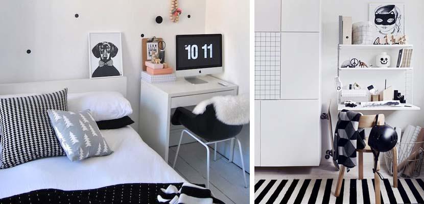 Habitación juvenil en blanco y negro