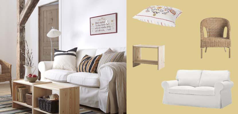 Sofá blanco de Ikea en estilo rústico