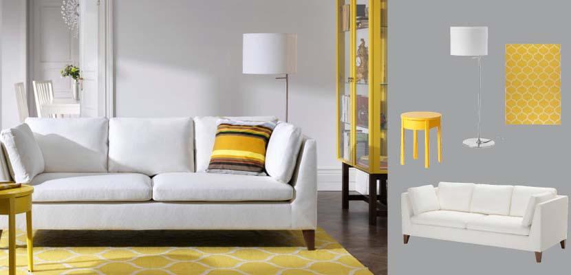 Sofá blanco de Ikea con amarillo