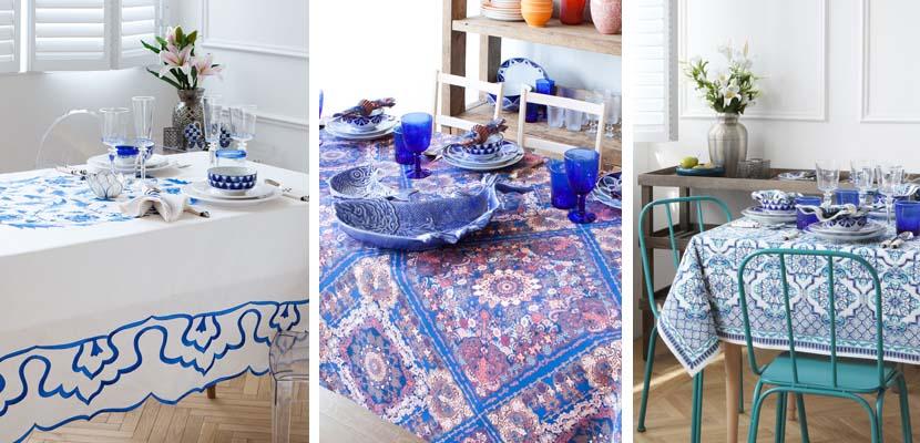 Tonos azules en la mesa