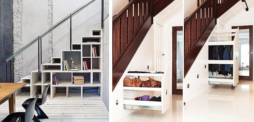 soluciones de almacenaje en el hueco de la escalera