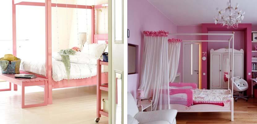 Dormitorios femeninos rosados