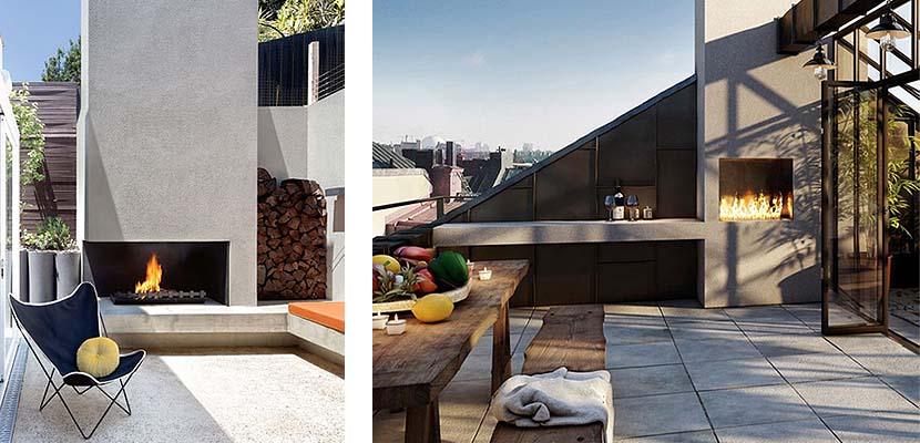 Espacios exteriores modernos con chimenea
