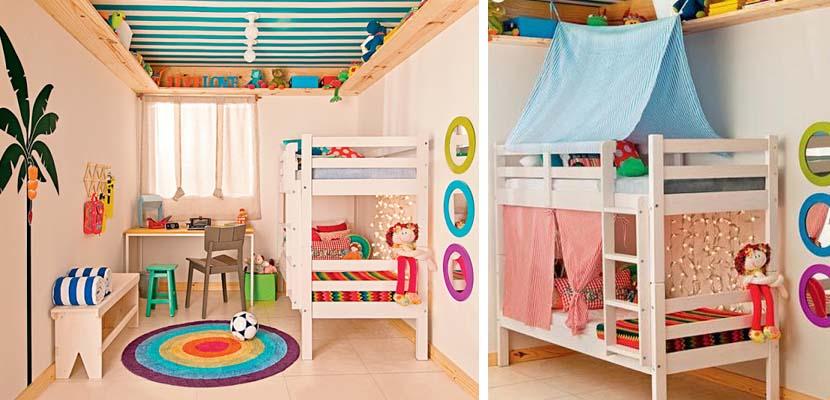 Ideas de habitaciones para gemelos for Ideas muebles para poco espacio