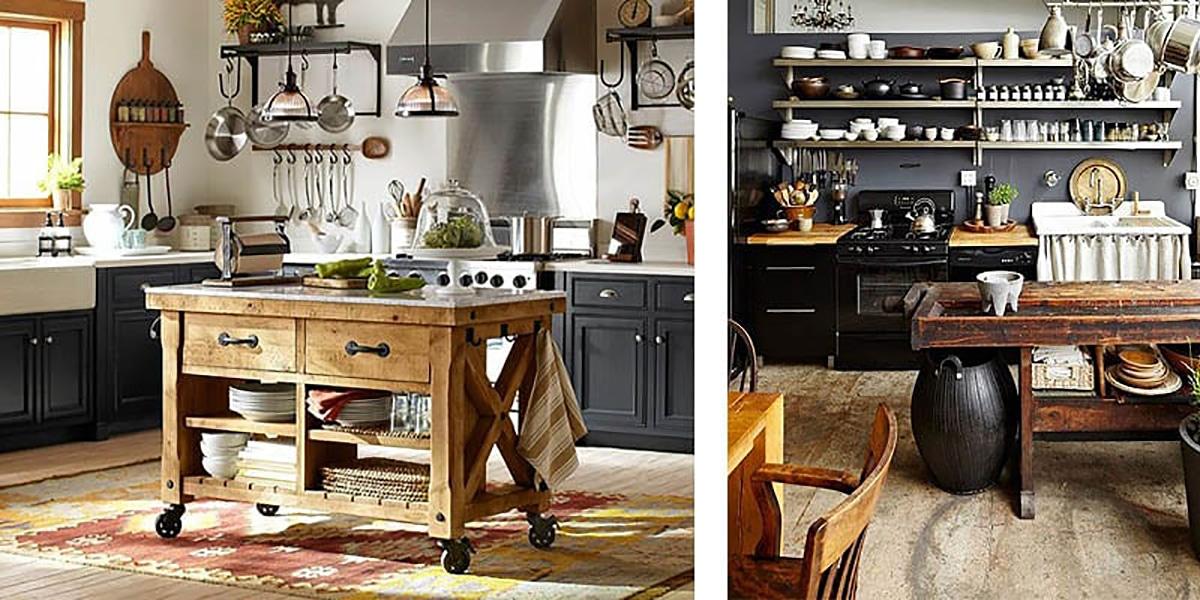 Añadir una isla de madera en la cocina