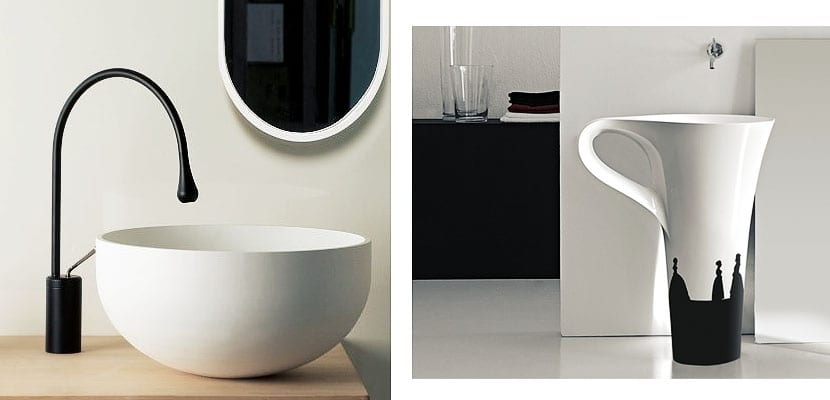 Lavabos en blanco y negro de dise o moderno for Griferia negra bano