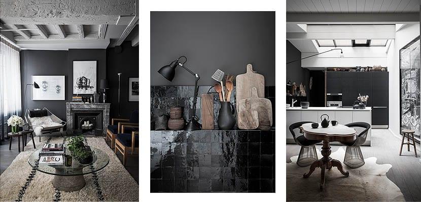Apartamento decorado en negro