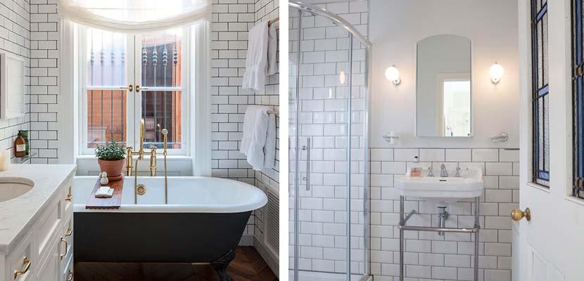 Baños blancos con azulejos
