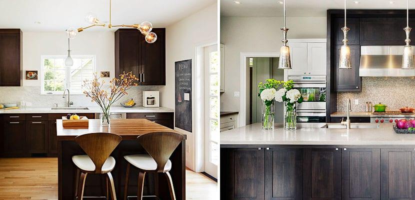 Muebles de madera oscura para decorar la cocina