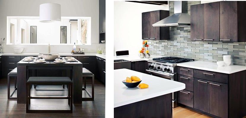 Muebles de madera oscura para decorar la cocina for Cocinas con gabinetes blancos