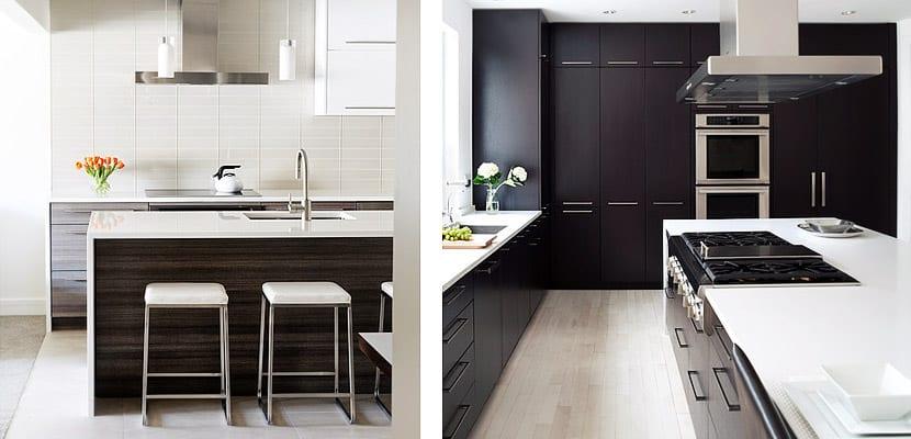 Muebles de madera oscura para decorar la cocina for Muebles de cocina de madera modernos