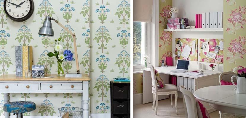Oficina femenina con papel pintado