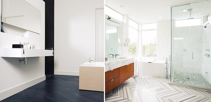 Cuartos de baño con patrón de espiga