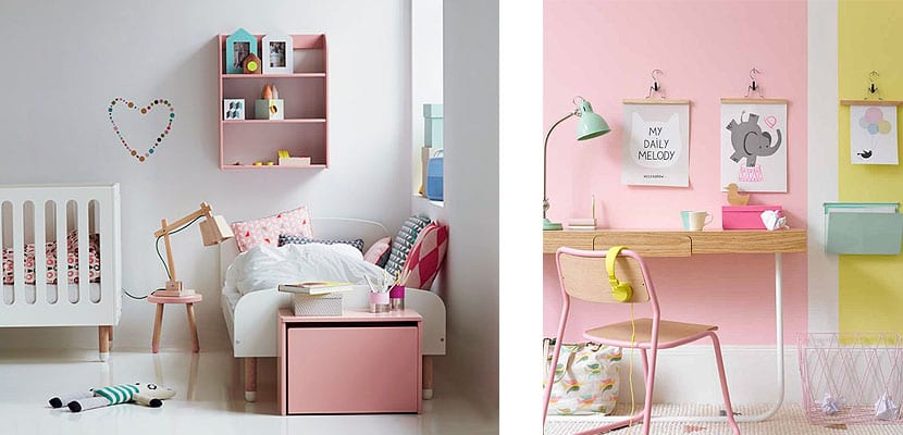Habitaciones rosas para niña