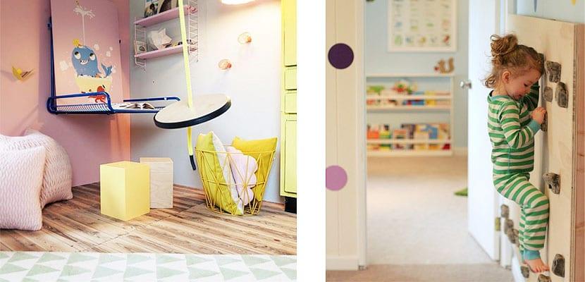 habitaciones infantiles para columpiarse y escalar