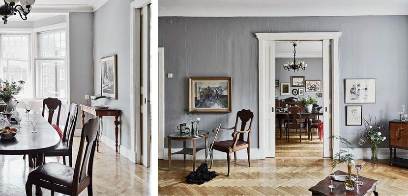 Sal n comedor antiguo con suelos y muebles de madera - Salon comedor clasico ...