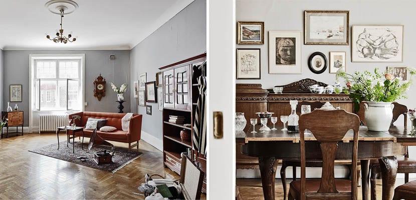 Sal n comedor antiguo con suelos y muebles de madera for Como modernizar un comedor clasico