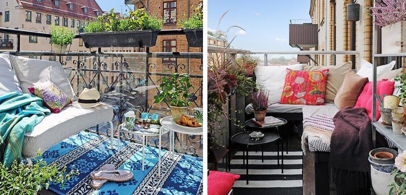 Balcones con textiles de moda