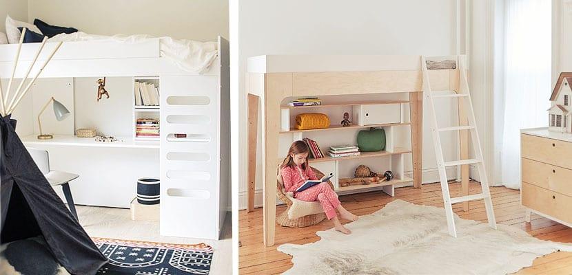 Dormitorios infantiles con litera loft