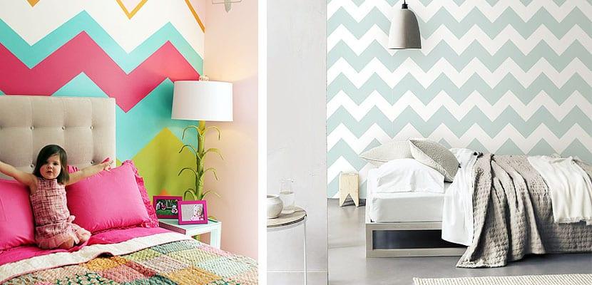 Dormitorios con paredes chevron